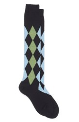 Maria La Rosa Women's Argyle Wool Blend Knee Socks Navy Light Blue Green