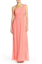 Women's Alfred Sung One Shoulder Shirred Chiffon Gown Apricot
