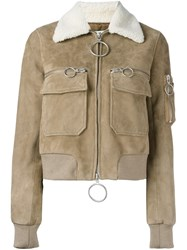 Off White Aviator Bomber Jacket Nude And Neutrals