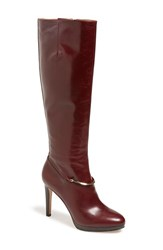 Women's Nine West 'Pearson' Tall Platform Boot Dark Red Leather