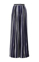 Martin Grant Striped Pleated Wide Leg Trouser Navy