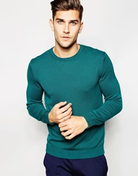 United Colors Of Benetton 100 Cotton Crew Neck Knitted Jumper Teal3a9
