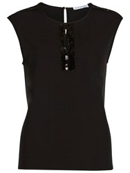 Gina Bacconi Soho Crepe Top With Sequin Trim Black