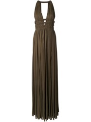 Jay Ahr V Neck Sleeveless Long Dress Green