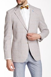Tailorbyrd Brown Glenplaid Two Button Notch Lapel Linen Jacket Beige