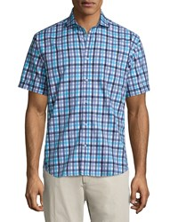 Neiman Marcus Check Print Short Sleeve Sport Shirt Blue