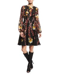 Giambattista Valli Bishop Sleeve Floral Capelet Dress Black Hydrangea Blk Hydrangea Flo