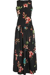 W118 By Walter Baker Derdra Floral Print Crepe De Chine Dress Black