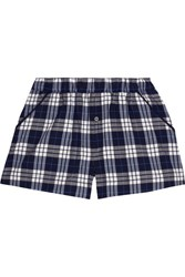 Skin Plaid Pima Cotton Pajama Shorts Navy