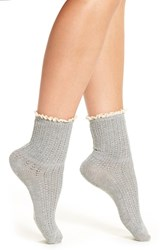 Peony And Moss Women's Lace Trim Crew Socks Grey