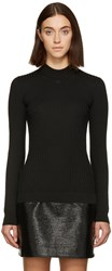 Courreges Black Classic Ribbed Pullover