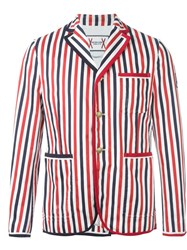 Moncler Gamme Bleu Striped Blazer Red