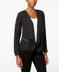 Ny Collection Petite Open Front Cascade Jacket Black