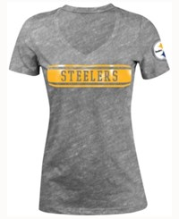 5Th And Ocean Women's Pittsburgh Steelers Touchback Le T Shirt Gray