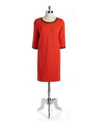Lord And Taylor Ponte Shift Dress With Faux Leather Trim Atomic Red