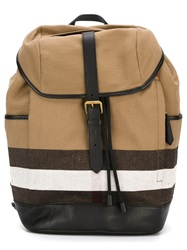 Burberry Striped Detail Backpack Black