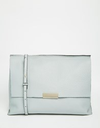 Asos Premium Leather Metal Handle Shoulder Bag Blue