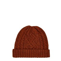 River Island Mens Rust Brown Cable Knit Beanie
