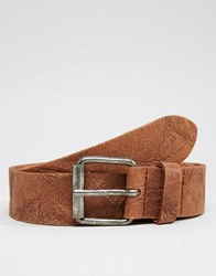 Asos Leather Belt With Vintage Finish Brown