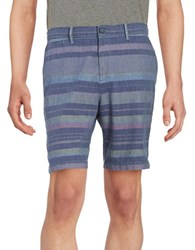 Original Penguin Slim Fit Striped Shorts Blue