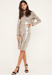 Missguided Silver Glitter Effect Faux Suede Midi Skirt Tan