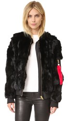 Adrienne Landau Rabbit Bomber Jacket Black