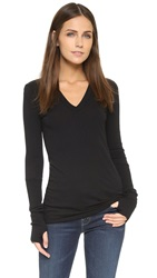 Enza Costa Cuffed V Top Black