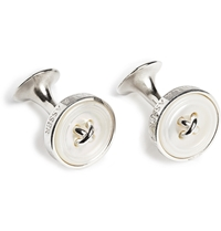 Turnbull And Asser Silver And Mother Of Pearl Button Cufflinks White
