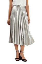 Topshop Women's Metallic Pleat Midi Skirt
