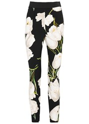 Dolce And Gabbana Tulip Print Skinny Trousers White
