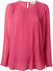 Michael Michael Kors Pleated Blouse Pink And Purple