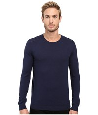 John Varvatos Long Sleeve Crew Neck Sweater W Contrast Piping Y1329s3b Deep Blue Men's Sweater