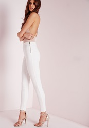 Missguided High Waisted Side Zip Skinny Jeans White White