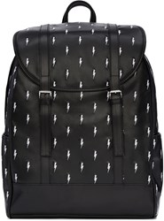 Neil Barrett Black And White Leather Thunderbolt Backpack