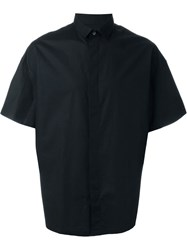 Les Hommes Wide Short Sleeve Button Down Shirt Black
