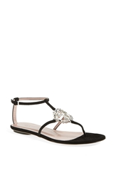 Gucci 'Gg' Crystal Thong Sandal Black