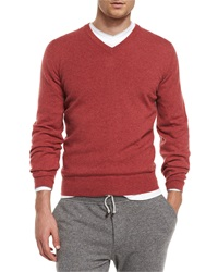 Brunello Cucinelli Cashmere V Neck Pullover Sweater Red