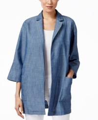 Eileen Fisher Denim Open Front Blazer Ltind