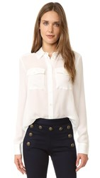 Veronica Beard Patch Pocket Blouse Off White