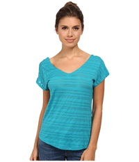 Smartwool Burnout Reversible Tee Capri Women's Short Sleeve Pullover Blue