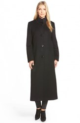 Women's Fleurette Cashmere Long Stand Collar Coat Black