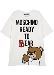 Moschino White Bear Print Oversized T Shirt