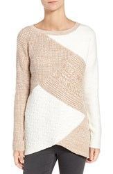 Trouve Women's Colorblock Mixed Knit Sweater