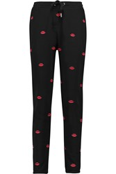 Zoe Karssen Lips All Over Embroidered Cotton Blend Tapered Pants Black