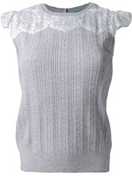 Guild Prime Cable Knit Lace Panel Detail Sleeveless Knitted Top Grey
