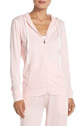 Women's Daniel Buchler Burnout Cotton Blend Hoodie Pink