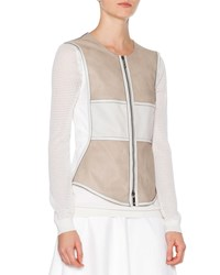 Callens Two Tone Leather Vest Stone White Stone White