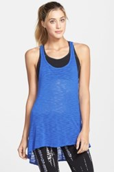 Hard Tail Slub High Low Racerback Tank Blue
