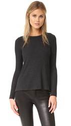 Enza Costa Heather Ribbed Pullover Charcoal