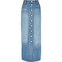 River Island Womens Blue Denim Button Up Maxi Skirt